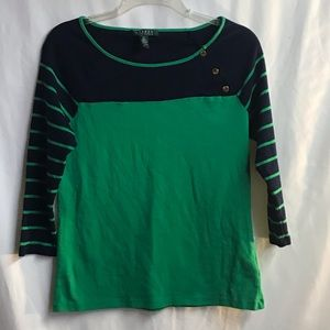 Navy and Green quarter length sleeve